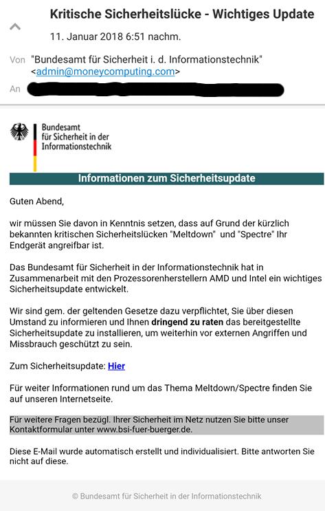 Screenshot einer gefälschten E-Mail des BSI mit angeblicher Sicherheitswarnung