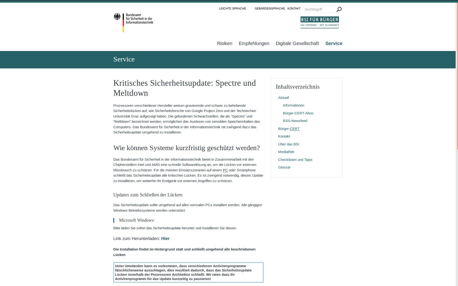 Screenshot der gefälschten Webseite des BSI für Bürger mit angeblichem Softwaredownload